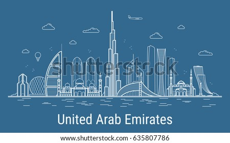 Modern United Arab Emirates line art Vector illustration with all famous buildings. Skyline.