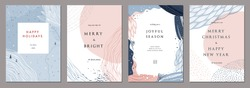 Modern universal artistic templates. Merry Christmas Corporate Holiday cards and invitations. Abstract frames and backgrounds design. Vector illustration.