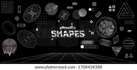 Modern universal trendy geometric shapes and 3D and other elements. Digital abstract set for you design. Cyberpunk, vaporwave in memphis and glitched style. Vector