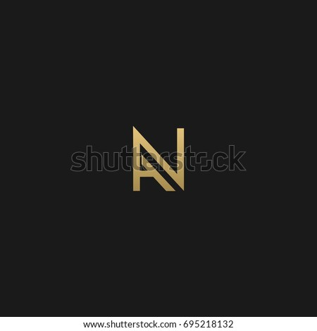 Modern unusual creative connected stylish fashion brands black and gold color AN NA A N initial based letter icon logo.