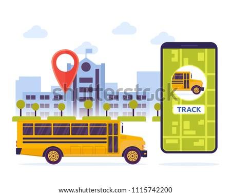 Modern Urban City Student Schoolbus Mobile Tracking System Illustration