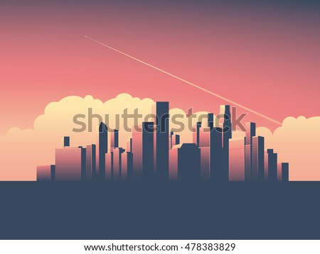 Modern urban cityscape vector illustration. Symbol of power, economy, financial institutions, money and banks. Eps10 vector illustration.