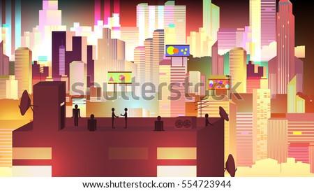 modern urban neon cityscape