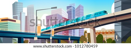 Modern Urban Panorama With High Skyscrapers And Subway City Background Horizontal Banner Flat Vector Illustration