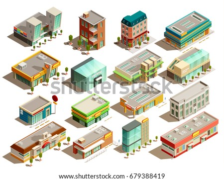 Modern urban store buildings of different styles isometric icons set isolated on white background vector illustration