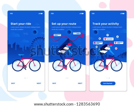 Modern user interface UX, UI screen template for mobile smart phone. Onboarding Screens User Interface Kit. Cycling, Bike riding app. Vector Illustration