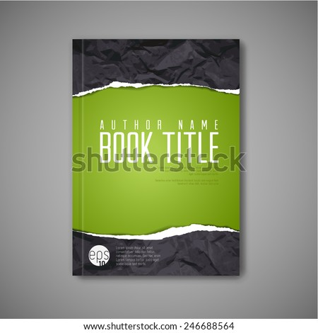Modern Vector abstract book cover template with teared paper Stock photo ©