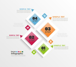 Modern vector abstract colorful infographic elements. Four  steps infographics with colorful squares. Vector business. Eps 10