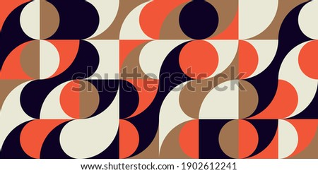 Modern vector abstract  geometric background with circles, rectangles and squares  in retro scandinavian style. Pastel colored simple shapes graphic pattern.