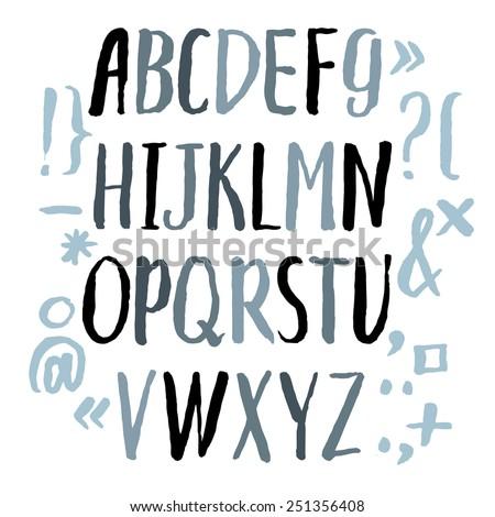 Modern Vector Alphabet. Hand drawn letters written by brush. Painted Alphabet.
