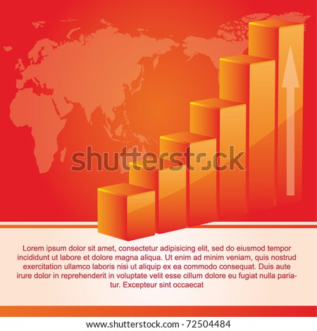Modern vector background with a graph and a world map