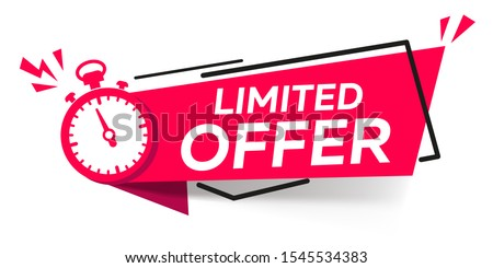 Modern vector banner ribbon limited offer with stop watch Foto d'archivio ©