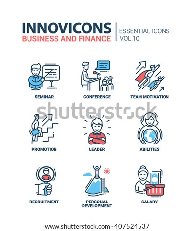 Modern vector business and finance icons collection.  Seminar, conference, team, motivation, promotion, leader, abilities, recruitment, personal development, salary