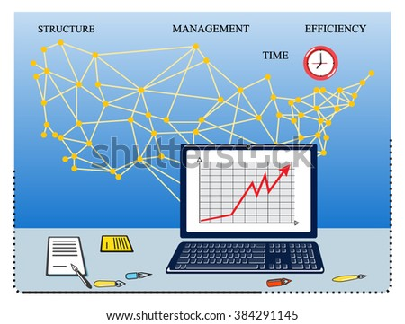 Modern vector business concept, finance. Flat line design vector illustration. Data analysis, statistics, financial research, the global economy, strategy, accounting, marketing, success, achievement