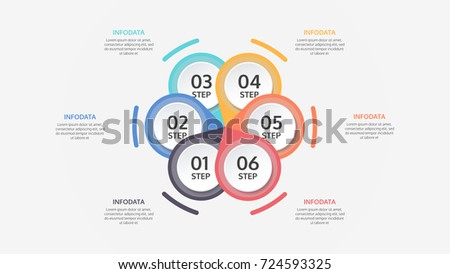 Modern vector circle infographic, cycle diagram, presentation chart. Business infographics concept with 6 steps,options.Vector illustration