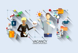 Modern vector design recruiting employees, job interview flat illustration concept. For website or infographics of business people career opportunity, human resource hiring best candidate.