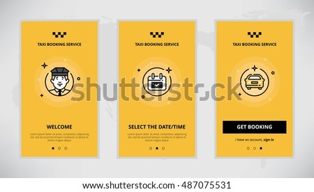 Modern vector flat line mobile app design set of taxi booking. Onboarding screens for online taxi booking