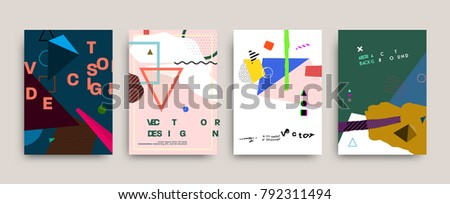 Modern vector graphic geometric elements and shapes for contemporary art. Covers for placard, poster, magazine, brochure, flyer or banner design.