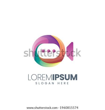 modern vector graphic video colorful logo good for technology logo,meeting logo,chatting logo,company logo,dummy logo,conference logo,etc