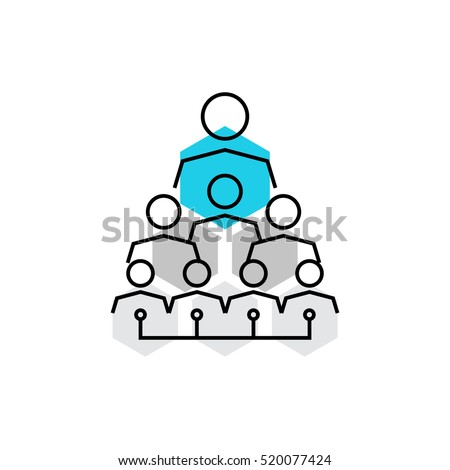 Modern vector icon of company structure, corporate hierarchy and employee organization. Premium quality vector illustration concept. Flat line icon symbol. Flat design image isolated white background.