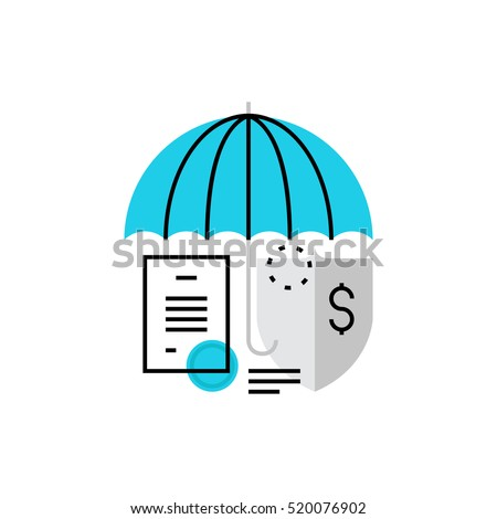 Modern vector icon of   contract, property saving and security features. Premium quality vector illustration concept. Flat line icon symbol. Flat design image isolated on white background.