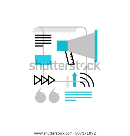 Modern vector icon of press release, social media promotion and advertising. Premium quality vector illustration concept. Flat line icon symbol. Flat design image isolated on white background.