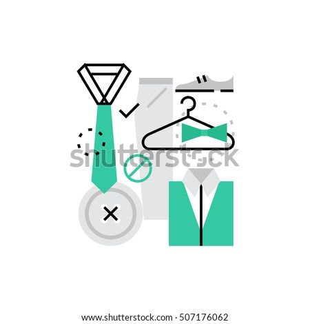 Modern vector icon of proffesional dress code and official wardrobe apparel. Premium quality vector illustration concept. Flat line icon symbol. Flat design image isolated on white background.