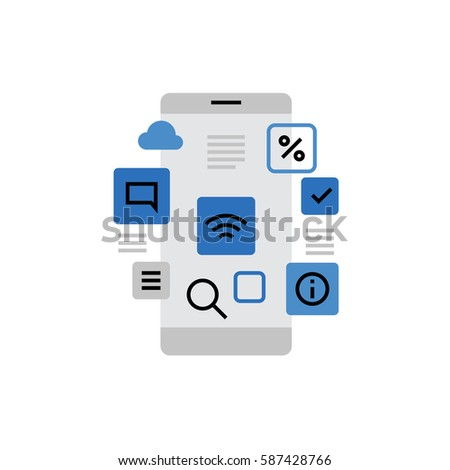 Modern vector icon of smartphone applications, app store menu interface and widgets. Premium quality vector illustration concept. Flat line icon symbol. Flat design image isolated on white background.