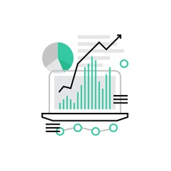 Modern vector icon of traffic growth showed in charts and graphs on a laptop screen. Premium quality vector illustration concept. Flat line icon symbol. Flat design image isolated on white background.