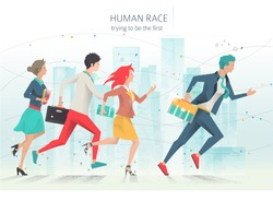 Modern vector illustration / Business concept of competition and rivalry/  trying to be leader /  office employees /  life in big city /  can be used for websites and banners / efficiency