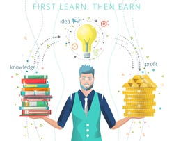 Modern vector illustration / Business concept of  searching best idea to make money / learn then earn /  can be used for websites and banners