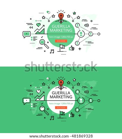 Modern vector illustration concept of guerilla marketing. Line flat design hero banners for websites and apps
