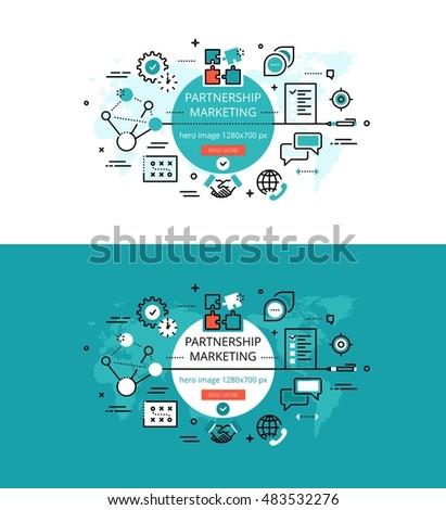 Modern vector illustration concept of partnership marketing. Line flat design hero banners for websites and apps