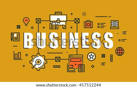 Modern vector illustration concept of word business. Thin line flat design banners for website, mobile website and presentation.
