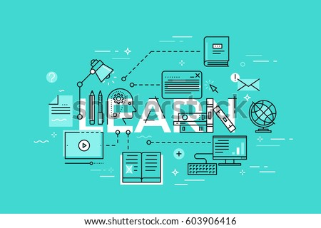 Modern vector illustration concept of word learn. Thin line banner for education, online learning, school and university, training and courses.