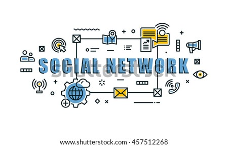 Modern vector illustration concept of word social network. Thin line flat design banners for website, mobile website and presentation.