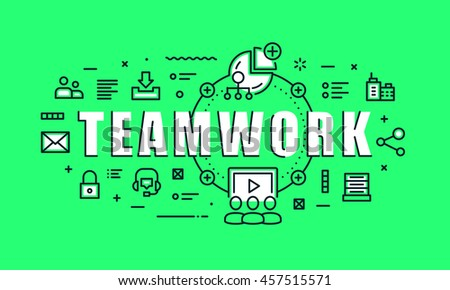 Modern vector illustration concept of word teamwork. Thin line flat design banners for website, mobile website and presentation.