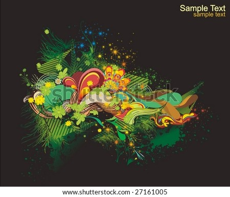 modern vector illustration,floral elements with abstract shapes,ink blots