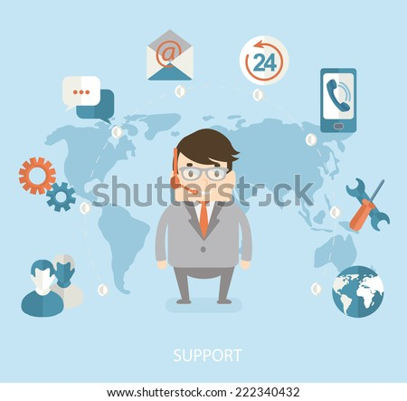 Modern vector illustration icons set in flat style of technical support Man with icons Vector