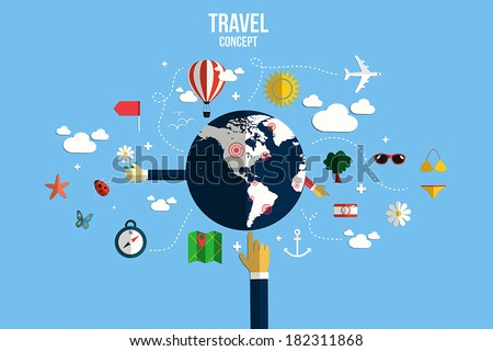 Modern vector illustration icons set of traveling, planning a summer vacation. Flat design style