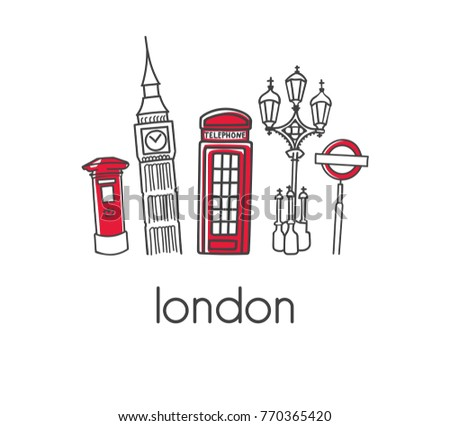 Modern vector illustration London with hand drawn doodle english symbols: Big Ben, telephone box, post box, street lamp and metro sign. Simple minimalistic design with black outline isolated on white