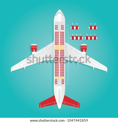 Modern vector illustration of Airplane Seat Map