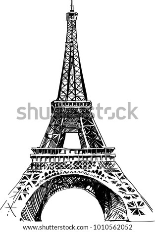Modern vector illustration of Eiffel Tower. Black and white vector illustration. Romantic symbol in France. Paris sketched image. Sightseeing concept. Eiffel Tower landmark.