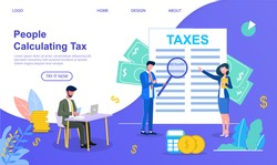 Modern vector illustration of two businessmen and businesswoman in glasses calculating taxes with big tax document on a background. Financial concept.