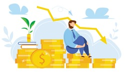 Modern vector illustration of world financial crisis. Oil price drop. Сollapse of the economy. Bankruptcy. Down arrow stocks graph. Economy stock market crash down. Depression amid losing money