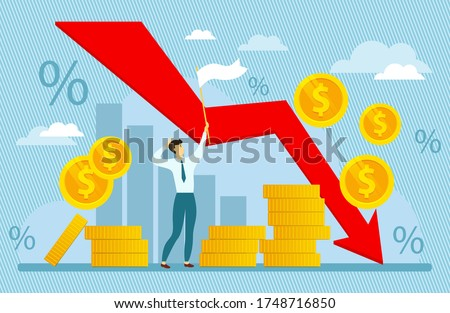 Modern vector illustration of world financial crisis. Oil price drop. ollapse of the economy. Bankruptcy. Down arrow stocks graph. Man hoisted white flag helping in financial crisis.