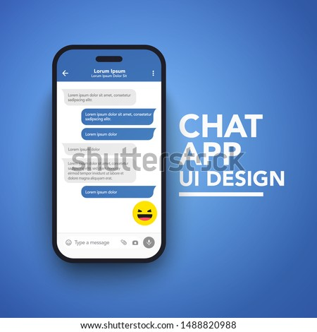 Modern vector illustration smart phone with messenger chat screen in flat style.