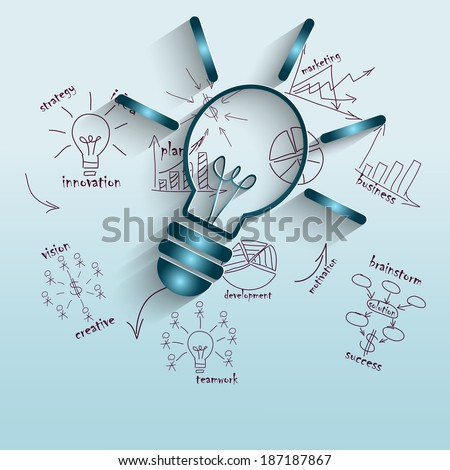 Modern vector illustration with a lamp and pictures