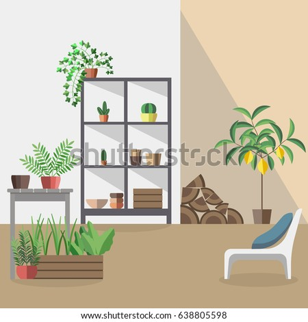 modern vector interior in flat