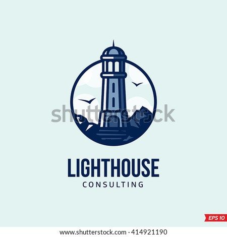 Modern vector Lighthouse sign logo for a consulting